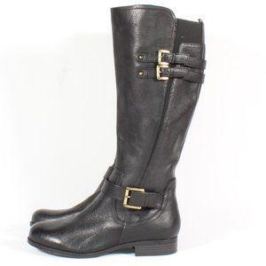 Naturalizer Jessie Buckle Leather Heel Boots Black